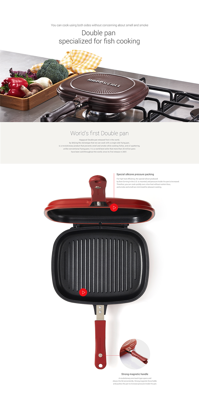 HappyCall Multipurpose Double Sided Grill Pressure Frying Pan BrownColorKorea