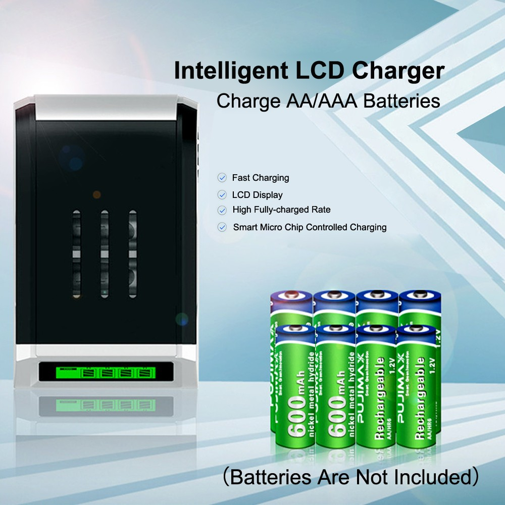 LCD Display Smart Intelligent Battery Charger for AA AAA NiCd NiMh 4 Slots DL5