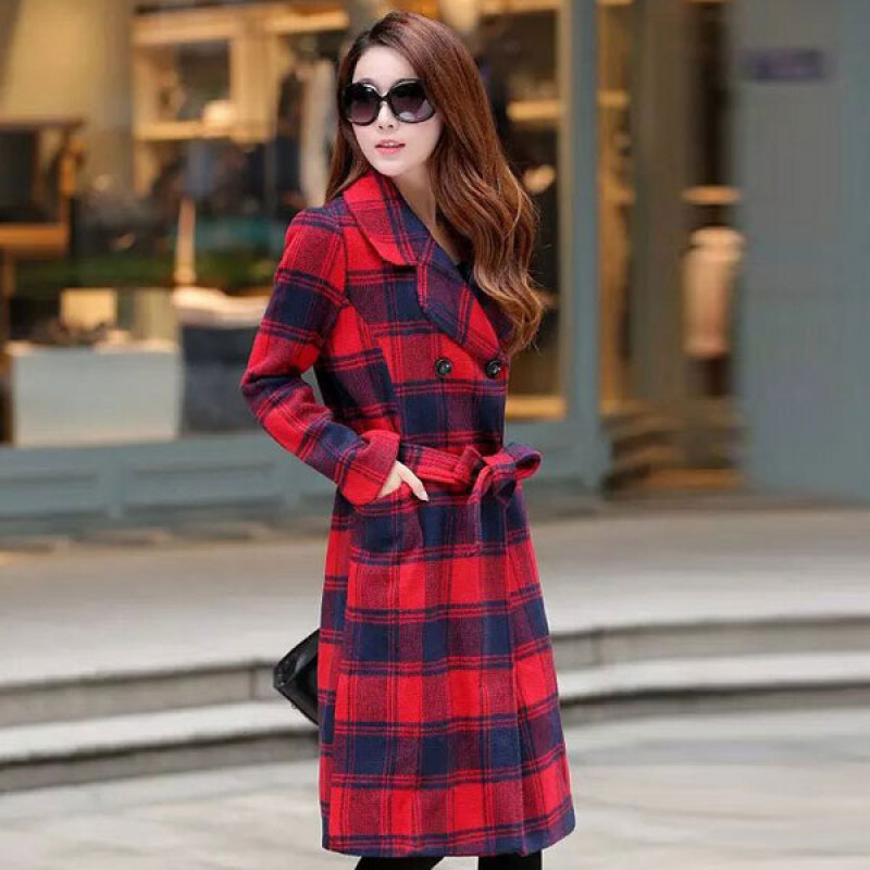 Women's Sweet Red Notched Plaid Coat