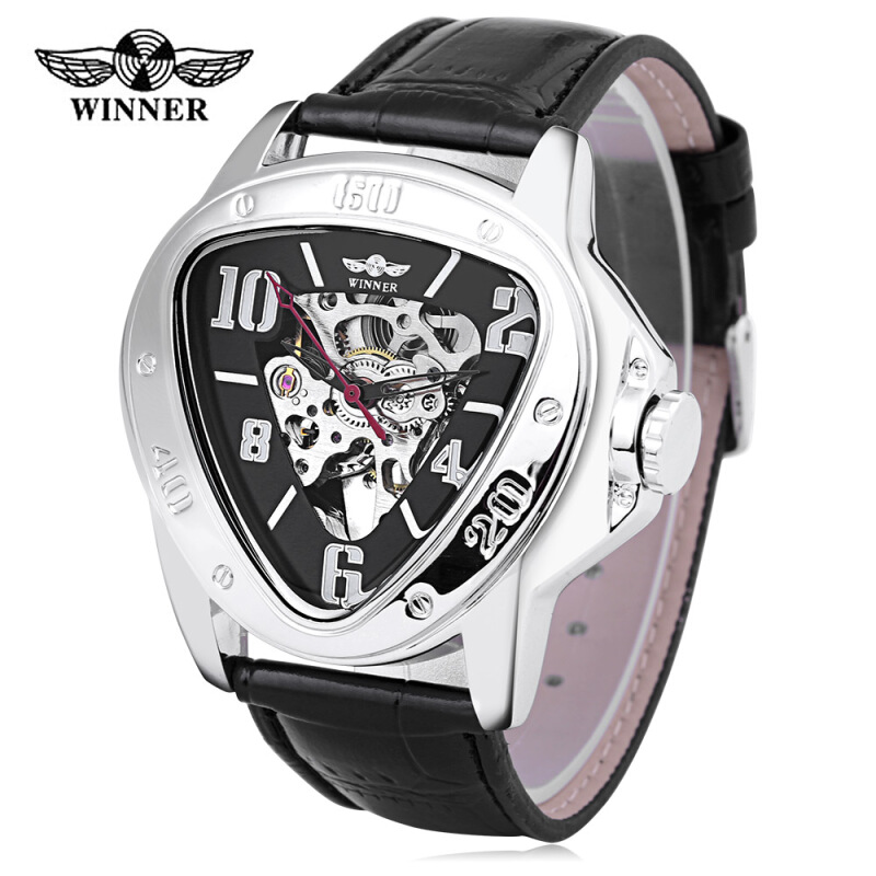 Winner 516 Male Auto Mechanical Watch Triangle Dial Leather Band Wristwatch for Men