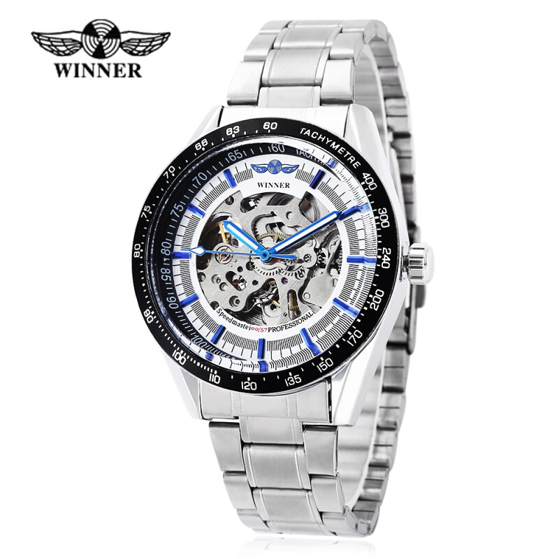 Winner 172 Men Automatic Mechanical Watch Luminous Hollow Movt Wristwatch for Men