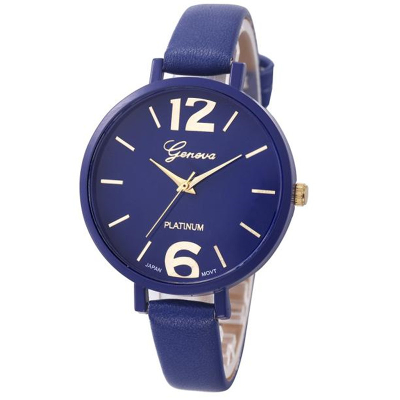 BESSKY Geneva Women Faux Leather Analog Quartz Wrist Watch- Dark Blue