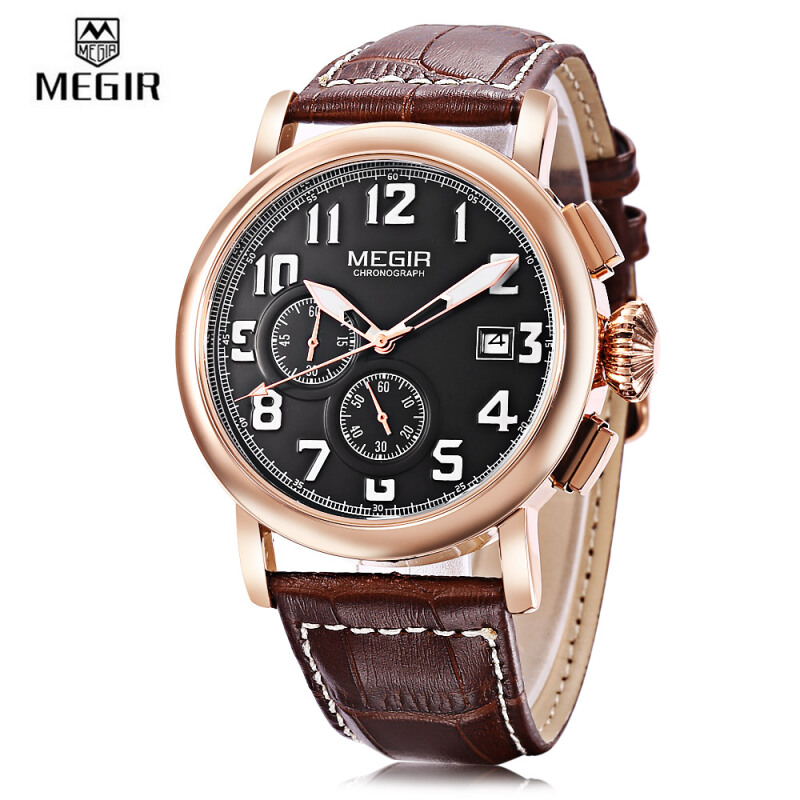 MEGIR ML2031 Male Quartz Watch Calendar Chronograph Luminous 3ATM Men Wristwatch