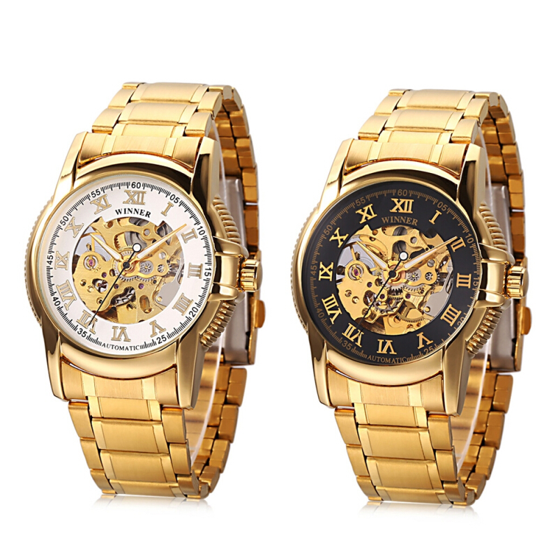 Winner 201 Male Auto Mechanical Hollow-out Dial Watch