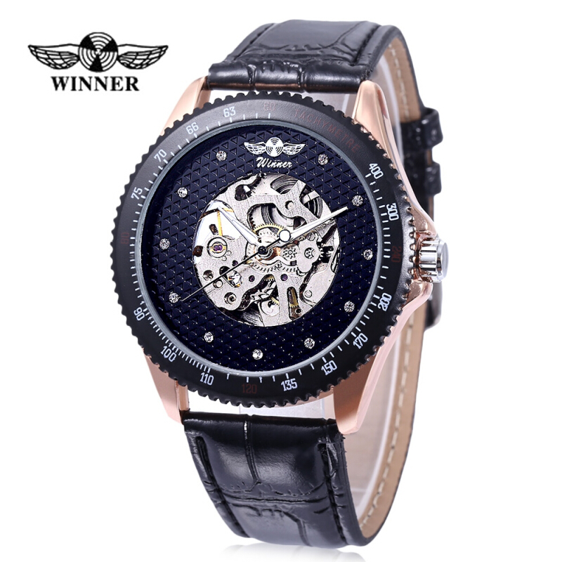 WINNER A055 Male Auto Mechanical Watch Luminous Hollow Artificial Diamond Dial Wristwatch