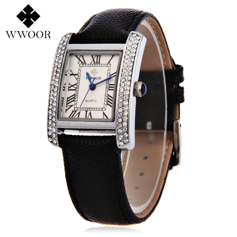 WWOOR 8806 Female Quartz Watch Water Resistance Genuine Leather Band Wristwatch
