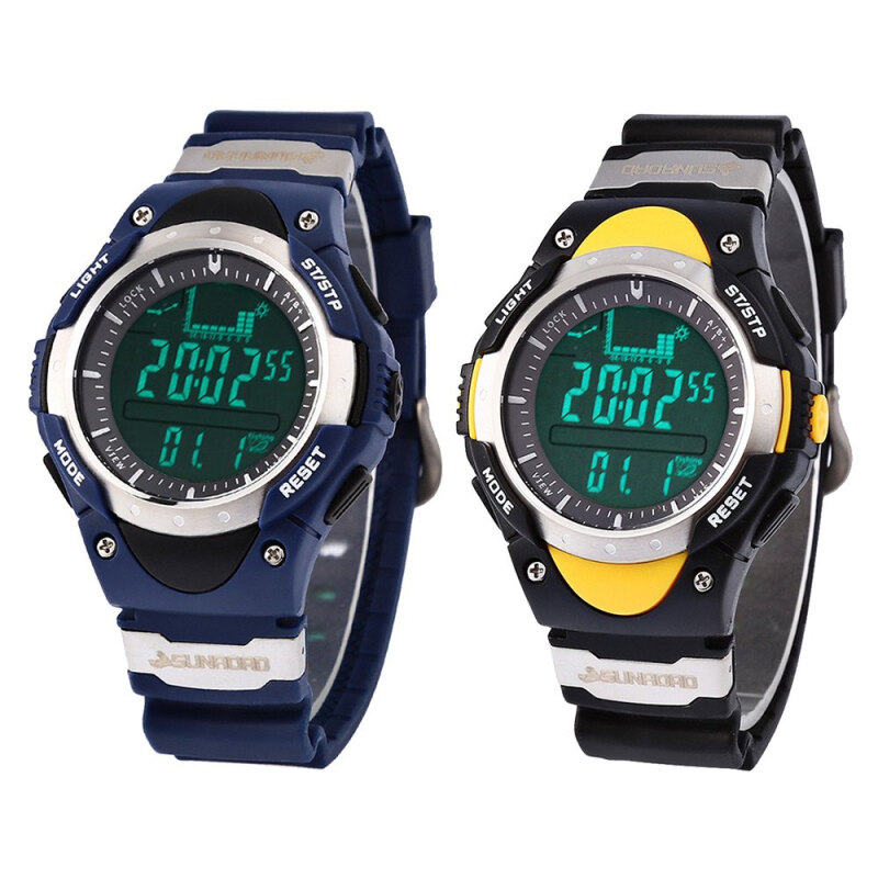 SUNROAD Fashion LED Digital Fishing Barometer Watch with Altimeter Thermometer Date and Rubber Watchband