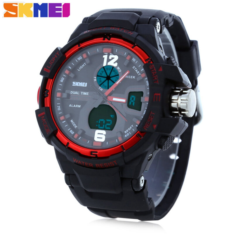 SKMEI 1148 Men LED Digital Quartz Sport Watch Water Resistance Dual Time Day Alarm Light Wristwatch