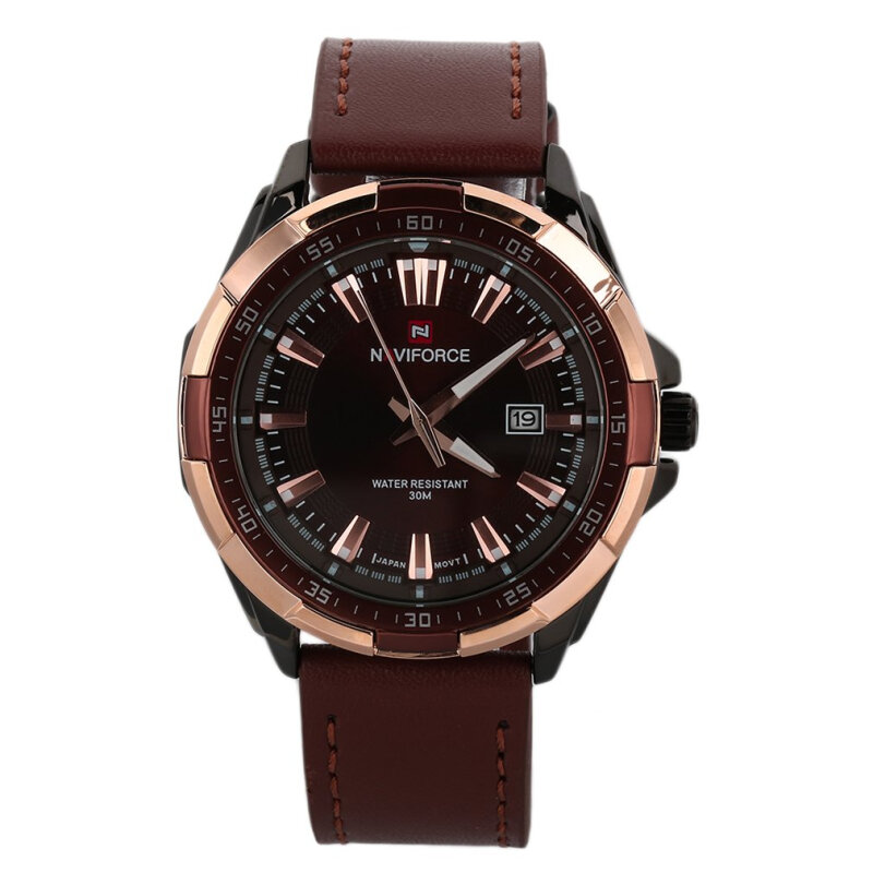 [Kingstore]Masculino Leather Strap Watch Men's Quartz Wristwatches NAVIFORCE NF9056