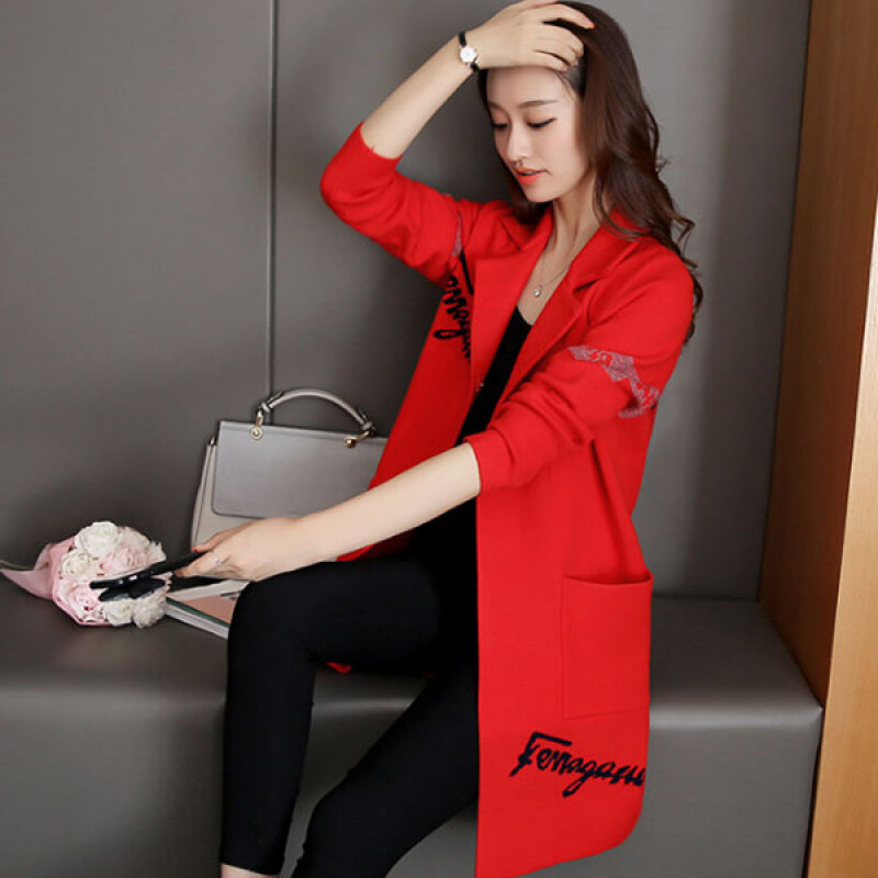 Women's Lovely Red Notched Print Coat