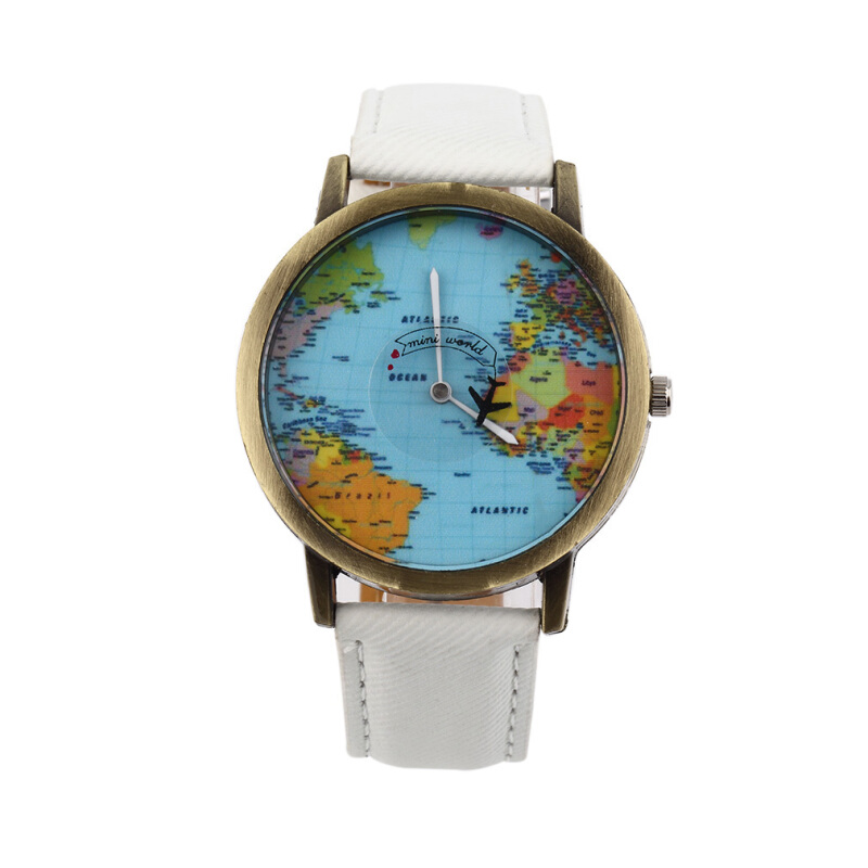 [Kingstore]Women Men Vintage Casual World Map Dial Analog Quartz Wrist Watch as a Gift
