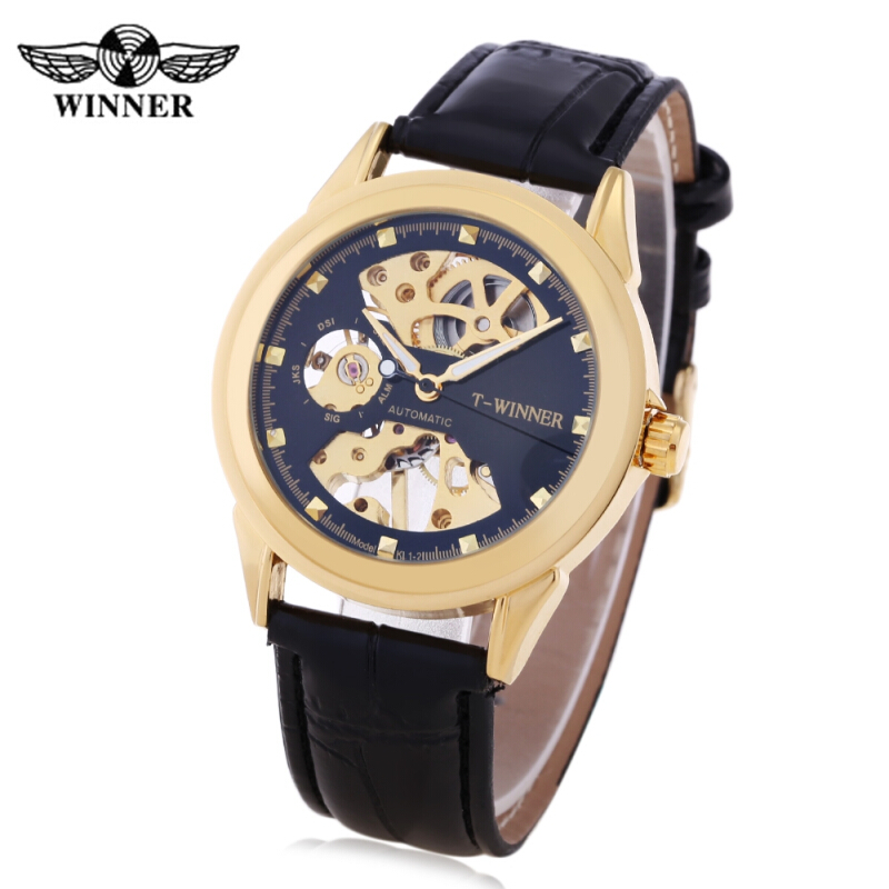 Winner F201672001 Male Auto Mechanical Watch Hollow-out Dial Leather Band Wristwatch