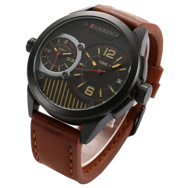 CURREN 8249 Double Movements Business Male Quartz Watch with Big Dial