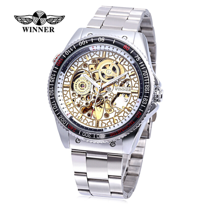 WINNER F1205300 Male Auto Mechanical Watch Luminous Exquisite Pattern Hollow Dial Wristwatch