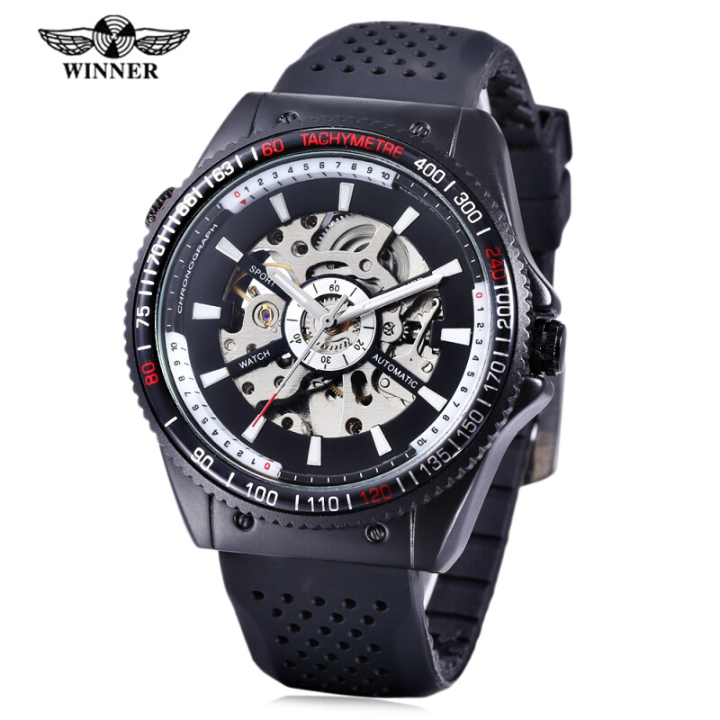 WINNER F120592 Male Auto Mechanical Watch Hollow-out Dial Luminous Pointer Wristwatch