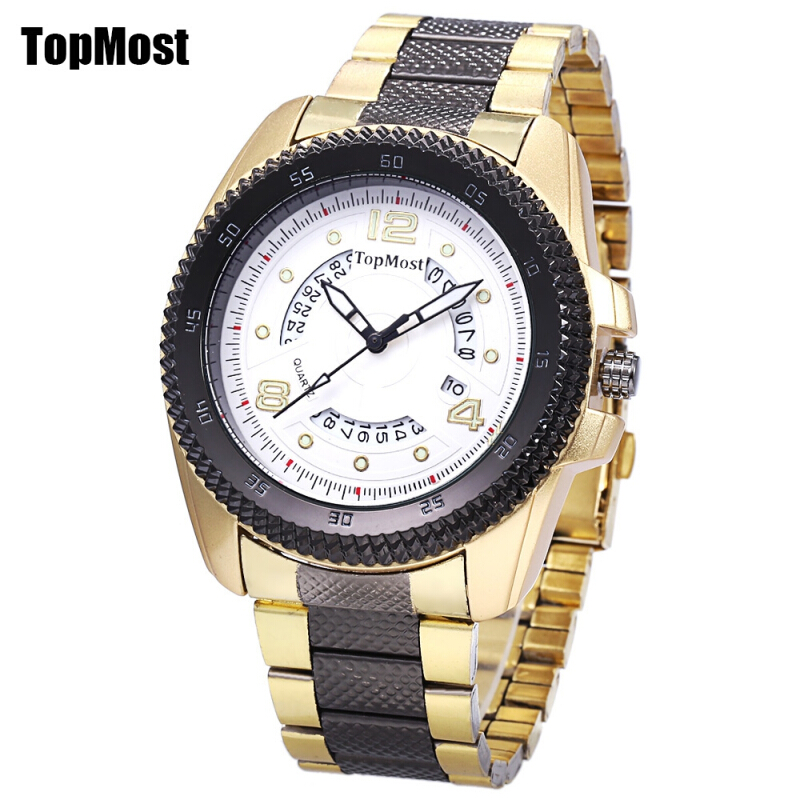 TOPMOST 1931 Male Quartz Watch Serrated Dial Date Luminous Display 3ATM Wristwatch