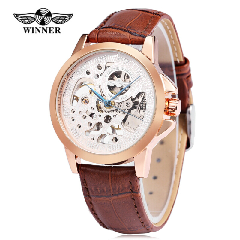 Winner Male Mechanical Watch Hollow Dial Leather Band Wristwatch for Men