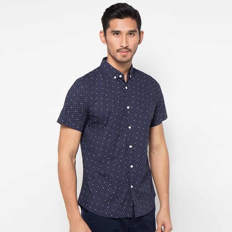 Minarno Anchor Dot S/S Shirt Qy - Navy [M]