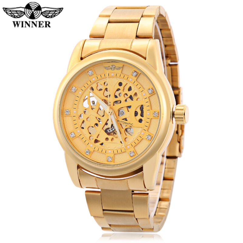 WINNER F2016070703 Male Auto Mechanical Watch Hollow-out Artificial Diamond Dial Wristwatch