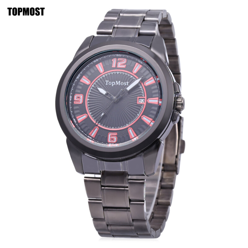 TOPMOST 1932 Men Quartz Watch Date Display Water Resistance Luminous Pointer Wristwatch