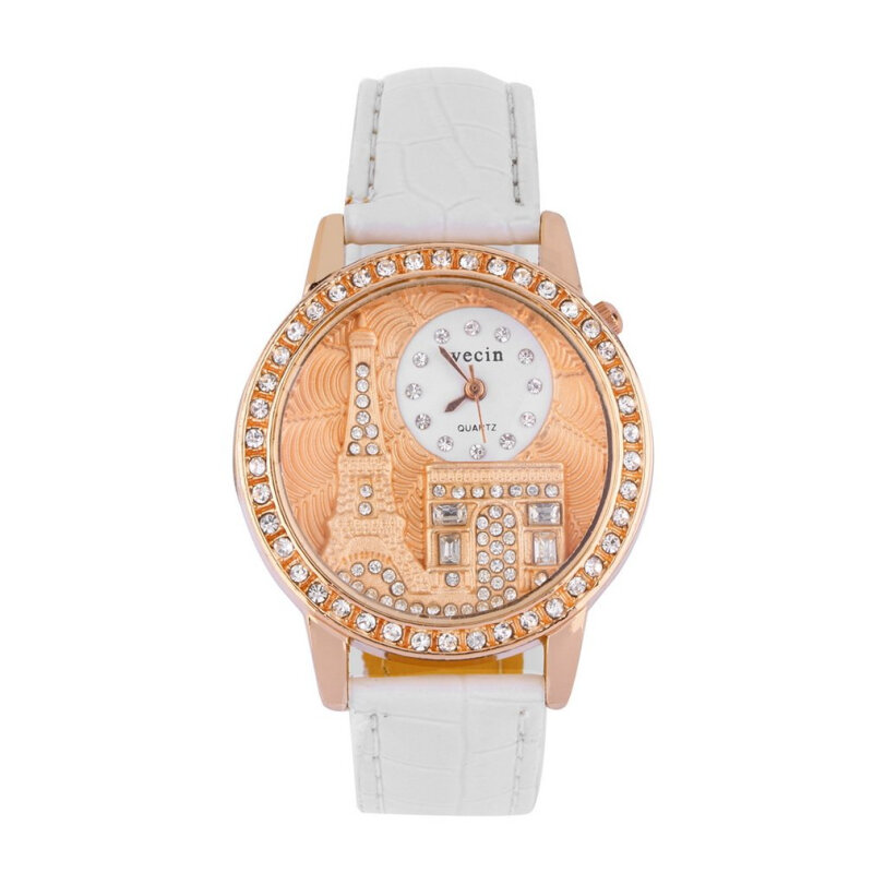 [Kingstore]Fashion Women PU Leather Eiffel Tower Crystal Diamond Quartz Analog Wrist Watch