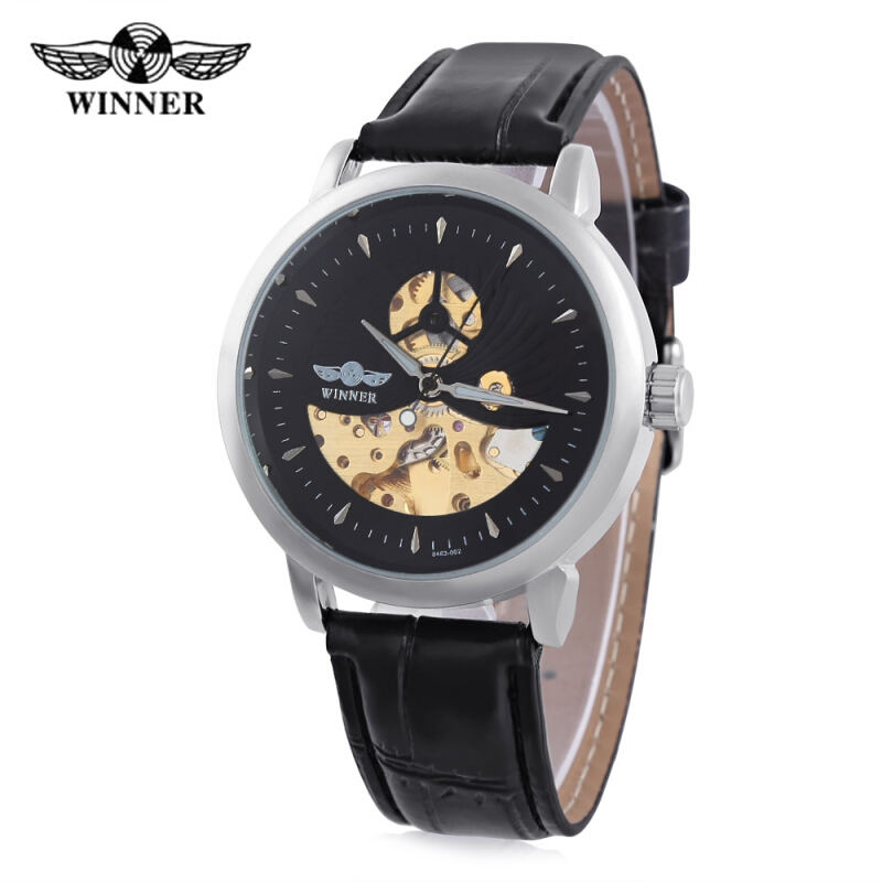 WINNER F2016826 Male Auto Mechanical Watch Distinct Pattern Luminous Hollow Dial Wristwatch