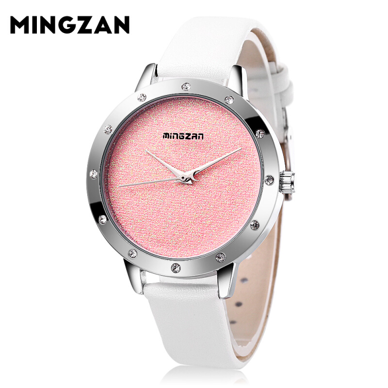 MINGZAN 6118 Women Quartz Watch Simple Shiny Dial Leather Strap Female Wristwatch