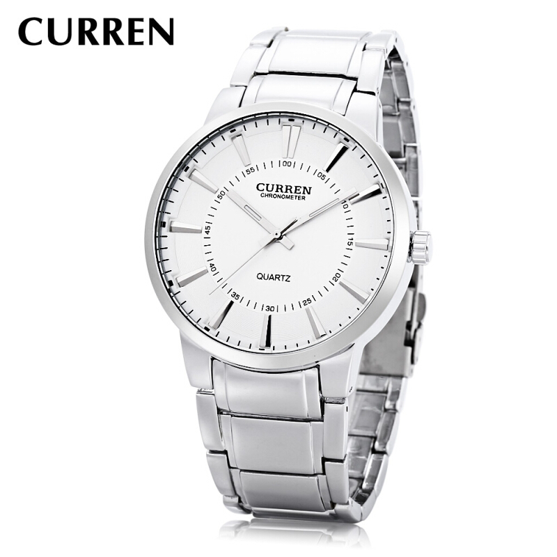 CURREN 8001B Male Quartz Watch Wide Stainless Steel Band Large Dial 30m Water Resistance Wristwatch