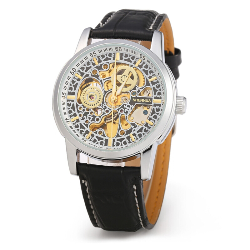 SHENHUA CGX 30 Male Automatic Mechanical Watch Hollow-out Clouds Dial Leather Band Wristwatch