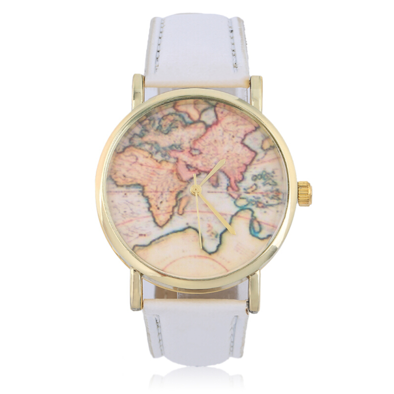 [Kingstore]New Women Geneva Globe Map Print Dial Round Gold Tone Case Fashion Watch