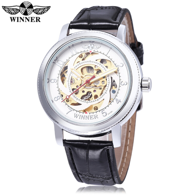 WINNER W111801 Male Auto Mechanical Watch Luminous Pointer Water Resistance Leather Strap Wristwatch