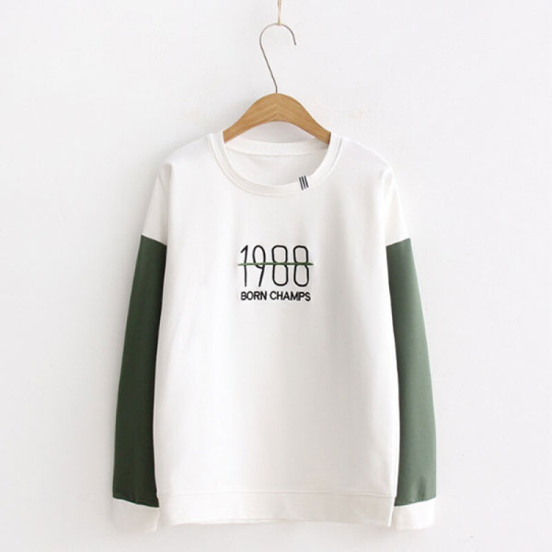Women's Simple Green O-Neck Patchwork Blouse