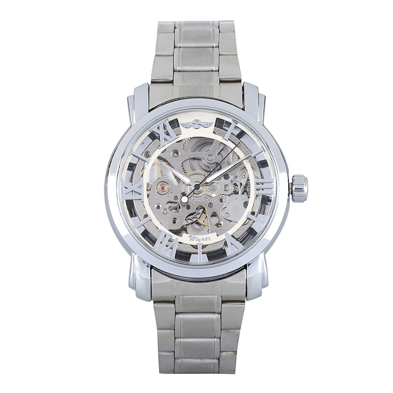 WINNER W136 - G Male Auto Mechanical Watch Hollow-out Dial Luminous Stainless Steel Band Wristwatch