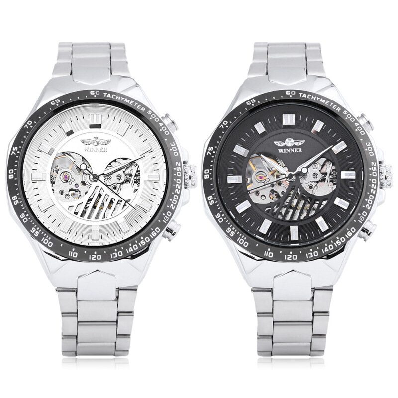 Winner A432 Auto Mechanical Male Watch Luminous Hollow-out Dial Wristwatch for Men