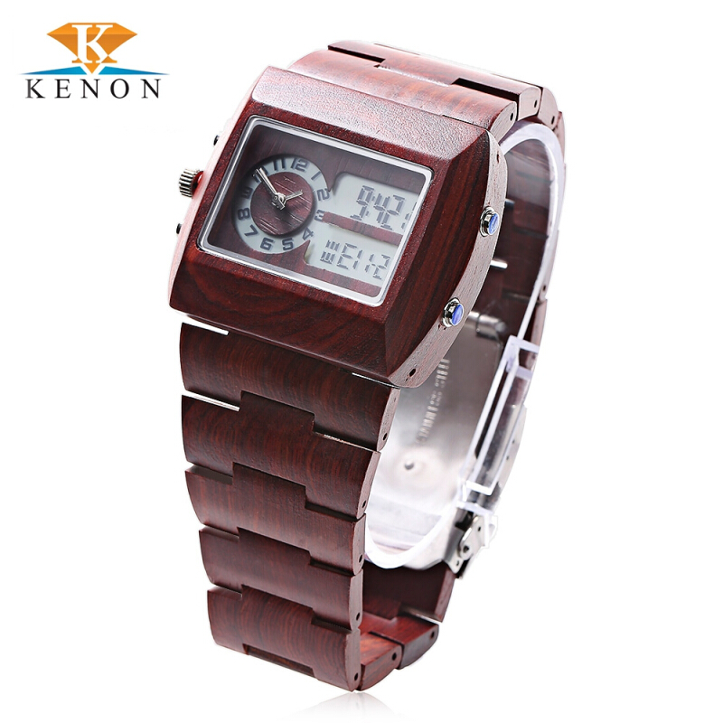K KENON Male Quartz Digital Display Wooden Watch