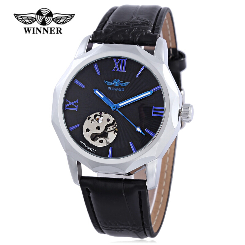 WINNER F1205313 Male Auto Mechanical Watch Luminous Pointer Water Resistance Leather Strap Wristwatch