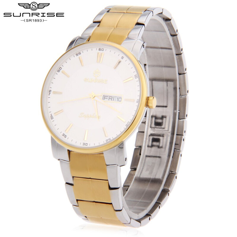 SUNRISE DM747SWC Man Quartz Watch Sapphire Mirror Water Resistance Day Display Wristwatch