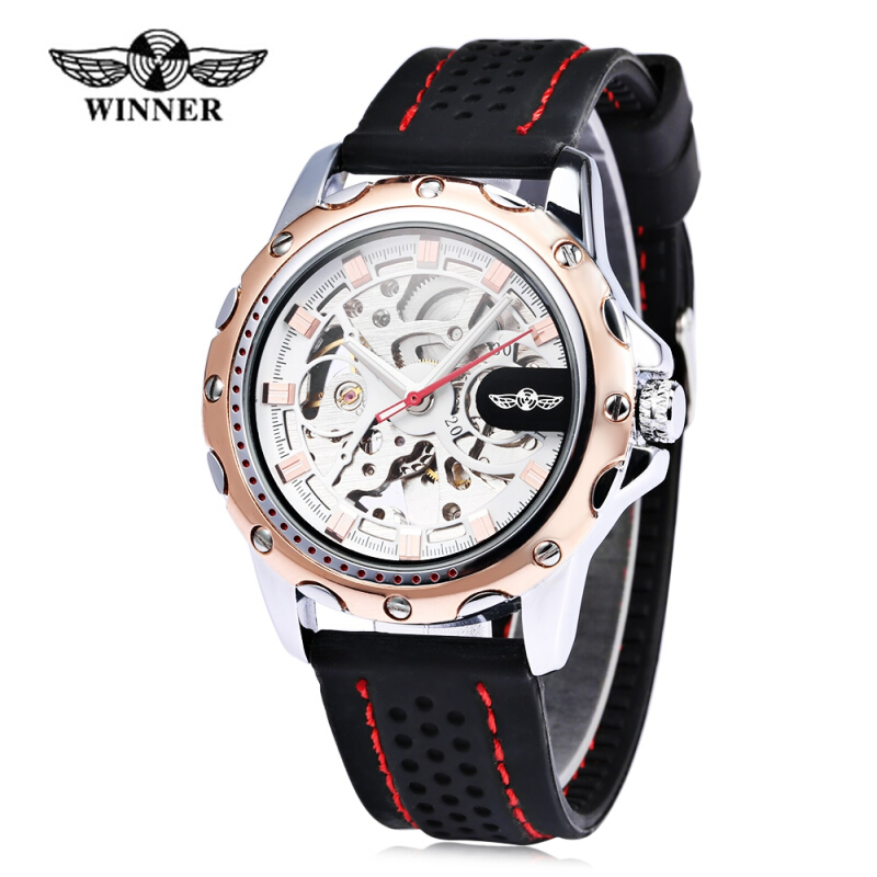 Winner Male Auto Mechanical Watch Luminous Silicone Band Wristwatch for Men