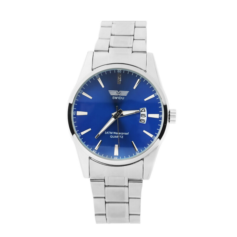 [Kingstore]Fashion Stainless Steel Band Date Analog Quartz Sport Mens Wrist Watch