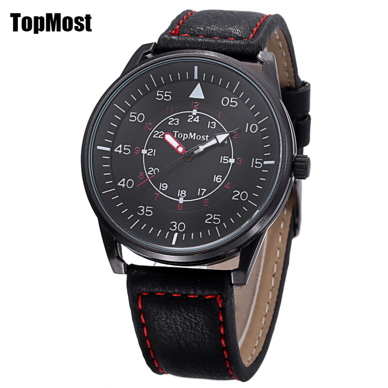 TOPMOST 1933 Male Quartz Watch 3ATM Luminous Pointer Leather Band Wristwatch