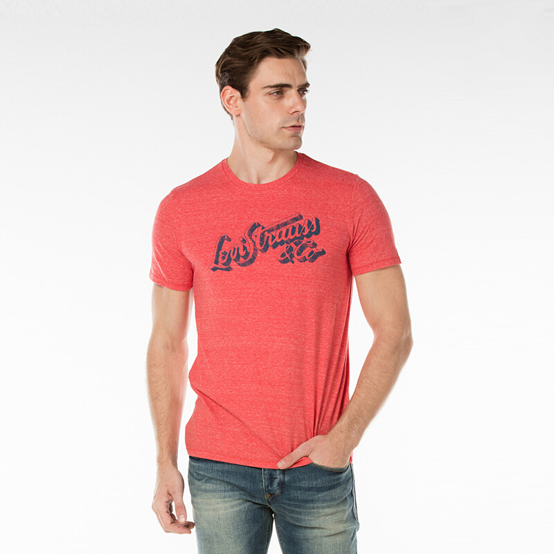 LEVI'S Wordmark Graphic Tee - Cherry Bomb Tri Blend