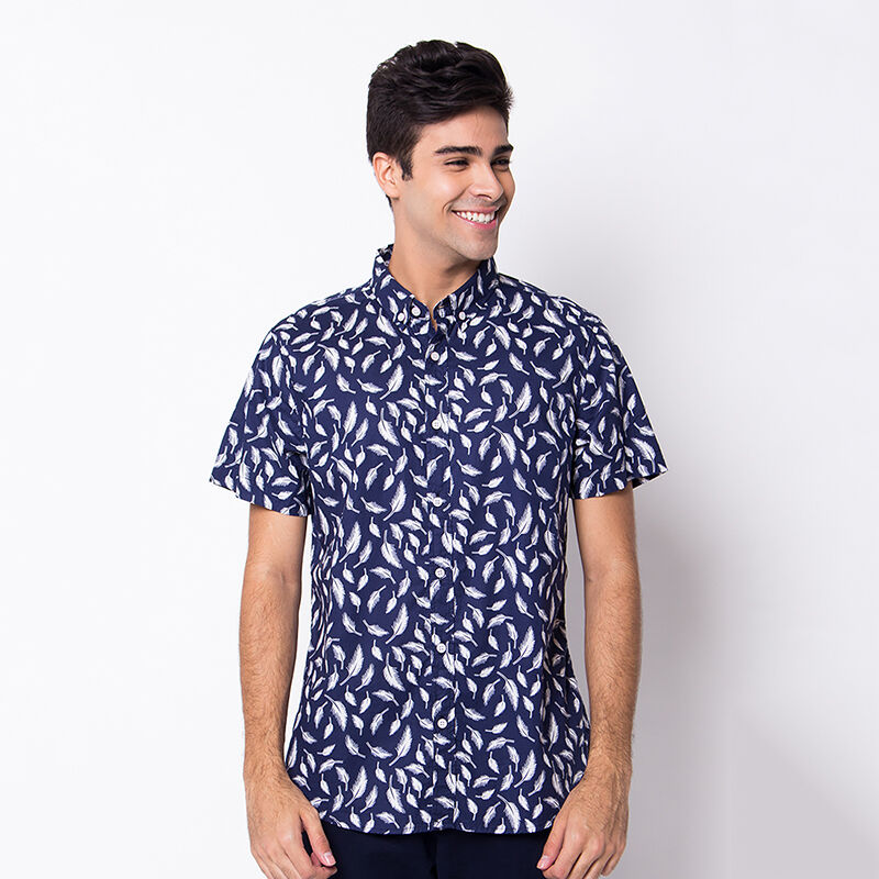Minarno Feather 001 S/S Shirt Qy - Navy [XXL]