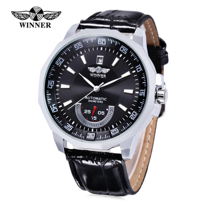 WINNER F1205292 Male Auto Mechanical Watch Date Display Working Sub-dial Wristwatch