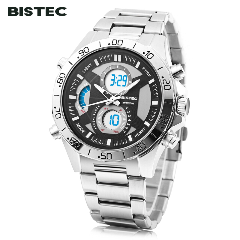 BISTEC 211 Male Dual Movt Outdoor Watch Alarm Chronograph LED Men Sport Wristwatch