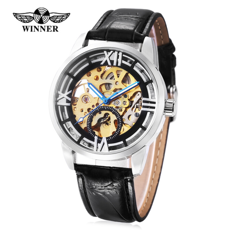 Winner 275 Male Auto Mechanical Watch Hollow Dial Luminous Wristwatch for Men