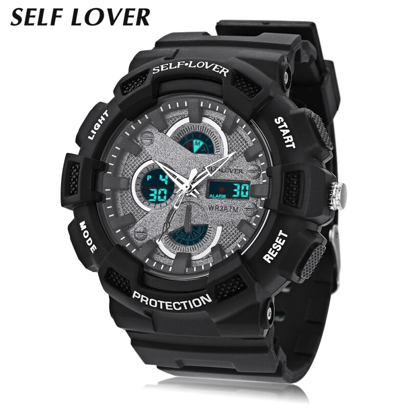 SELF LOVER HZ491 Dual Movt Watch Chronograph Alarm Day Display 3ATM Sports Wristwatch