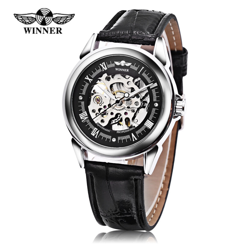 Winner Auto Mechanical Men Watch Artificial Diamond Scales Visible Movt Luminous Male Wristwatch