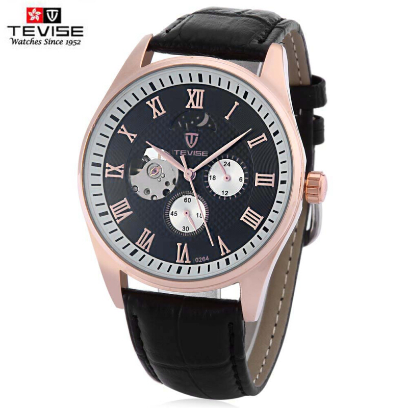 TEVISE 264 Male Hollow Auto Mechanical Watch Moon Phase 24 Hours Display Wristwatch