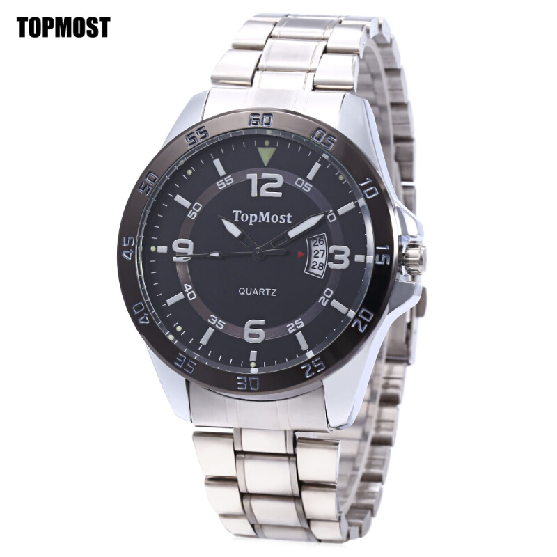 TOPMOST 1930 Men Quartz Watch Date Display Dual Scales Water Resistance Luminous Wristwatch