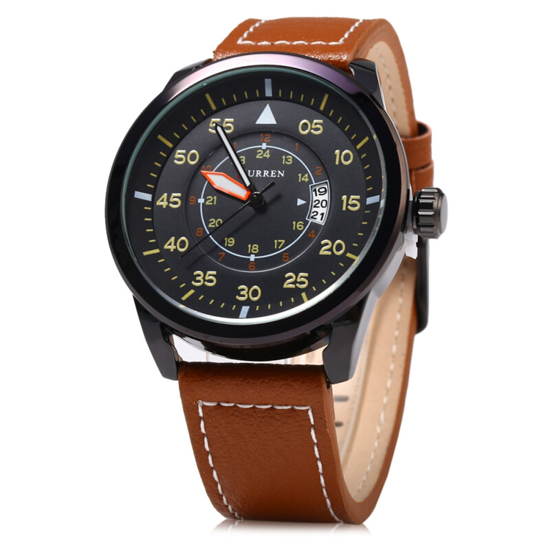 Curren 8210 Leather Band Men Quartz Watch